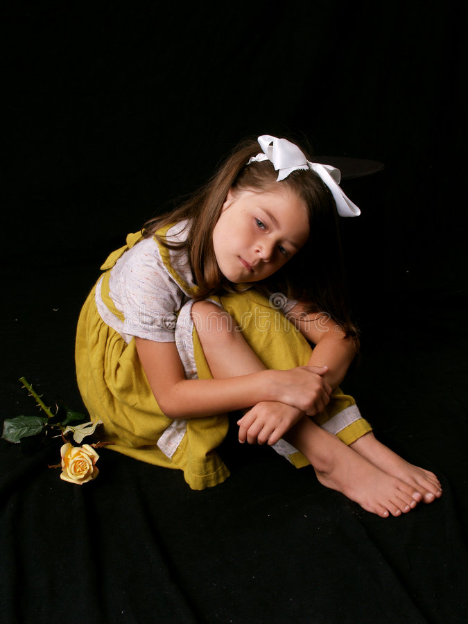 Young Beautiful Girl with Rose stock photo