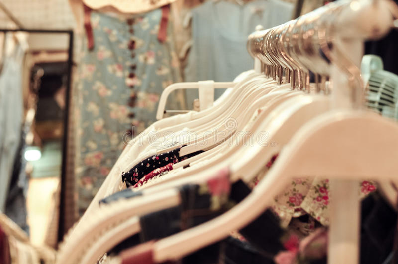 Vintage Dress Shop. Vintage Clothe Shop For Girl And Woman, Pastel Theme royalty free stock photos