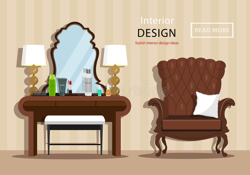 Vintage dressing table with mirror and cosmetics for a woman, little chair and armchair in house interior. Flat style. stock illustration