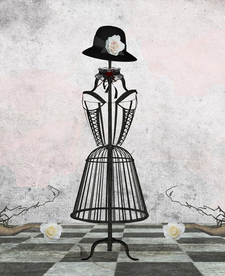 Vintage dummy. A romantic vintage dummy with hat and roses vector illustration