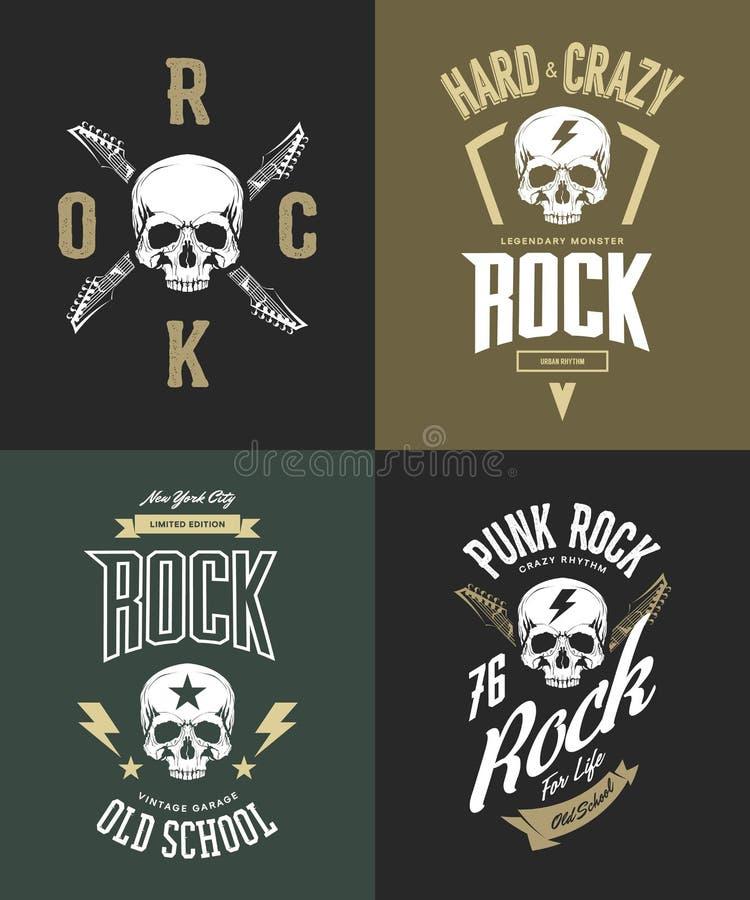 Vintage duramente e logotipo do t-shirt do vetor do punk rock isolado no fundo escuro ilustração do vetor