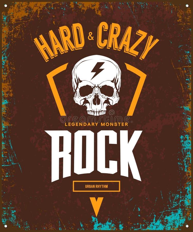 Vintage duro y logotipo loco de la camiseta del vector de la roca aislado en fondo oscuro stock de ilustración