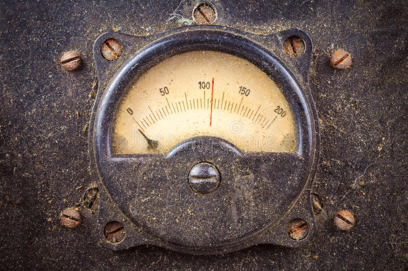 Vintage dusty round industry meter royalty free stock images