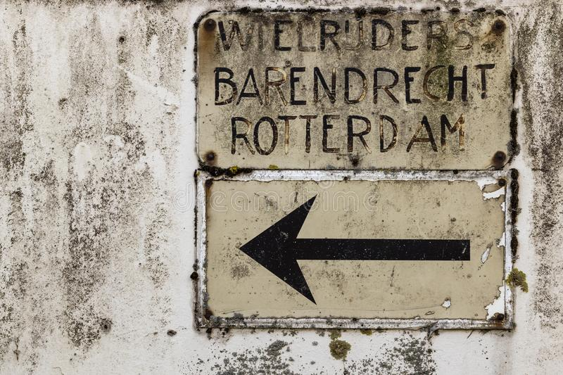 Vintage Dutch roadsign for cyclists to Barendrecht and Rotterdam stock photography