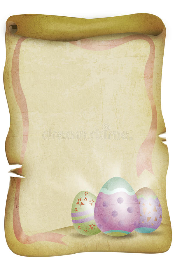 Vintage Easter Themed Paper with Eggs and Red Ribbon. vector illustration