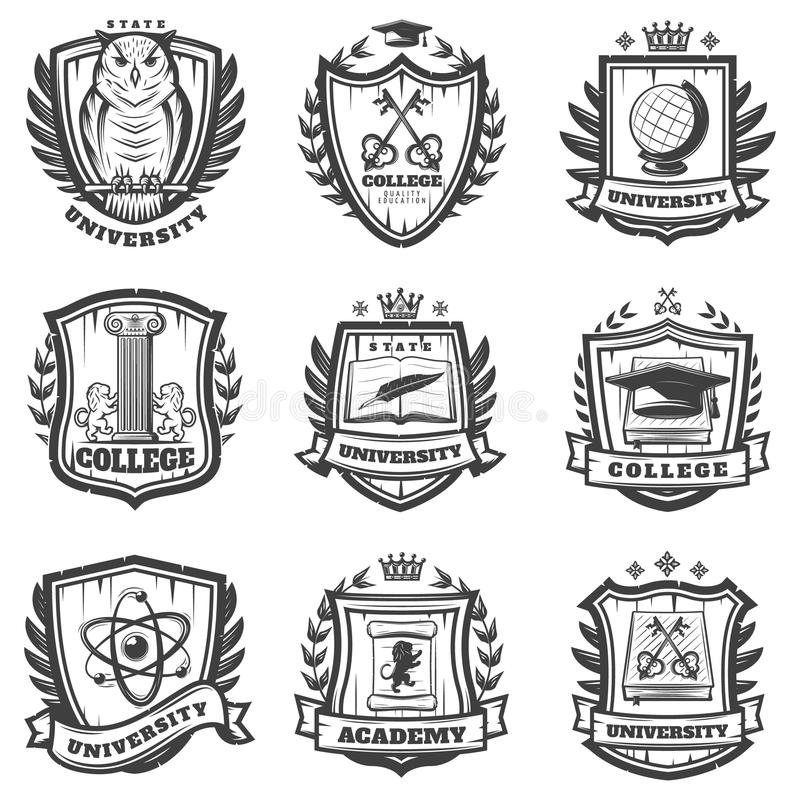 Free Vintage Educational Coat Of Arms Set Stock Images - 121026194