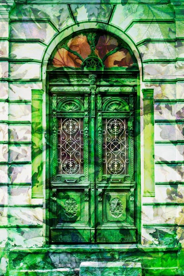 Free Vintage Elaborate Wooden Door With Green Man Stock Image - 115339301