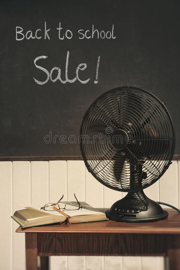 Vintage electric fan on table royalty free stock image
