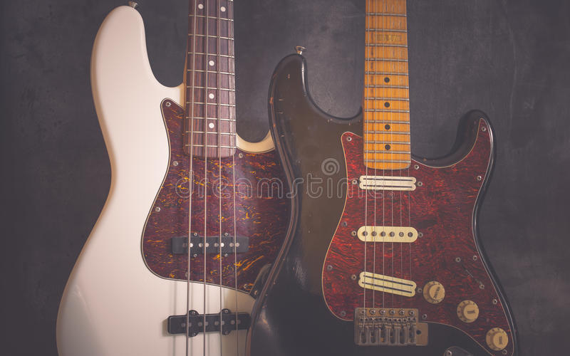 Vintage electric guitar and bass stock photo