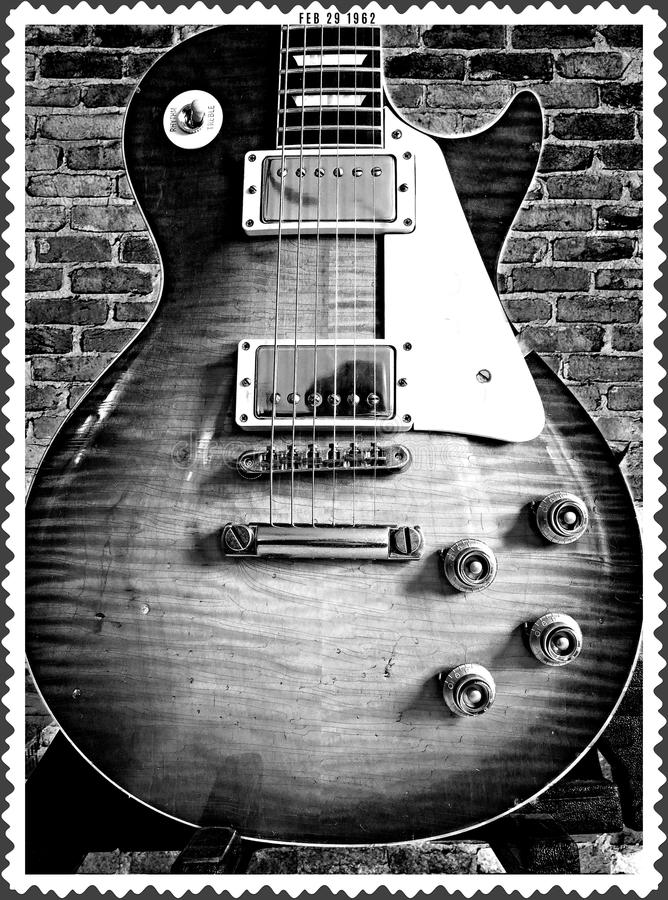 Vintage Electric Guitar given Old Time Photo Treatment Antique stock images