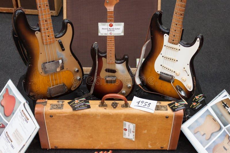 Vintage electric guitars at Milano Guitars & Beyon stock photography
