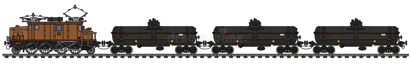 Vintage electric tank train vector illustration