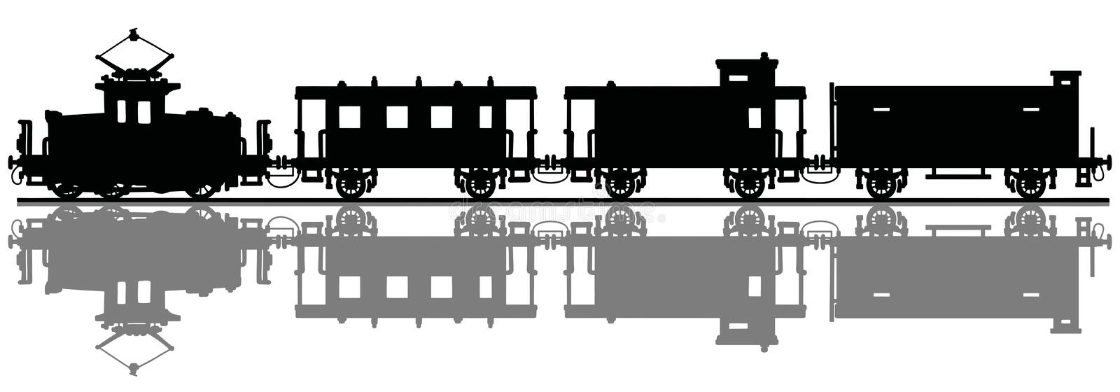Vintage electric train royalty free illustration