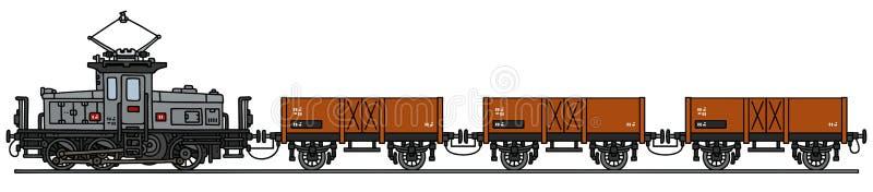 Vintage electric train stock illustration