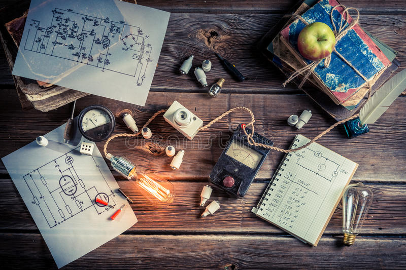 Vintage Electrical laboratory royalty free stock images