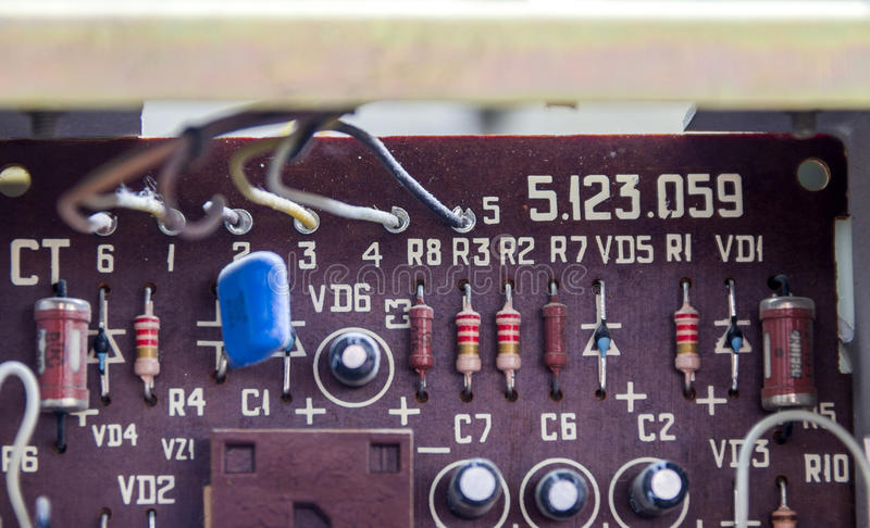 Vintage electronic board. Close-up electronic board of old tape recorder royalty free stock image