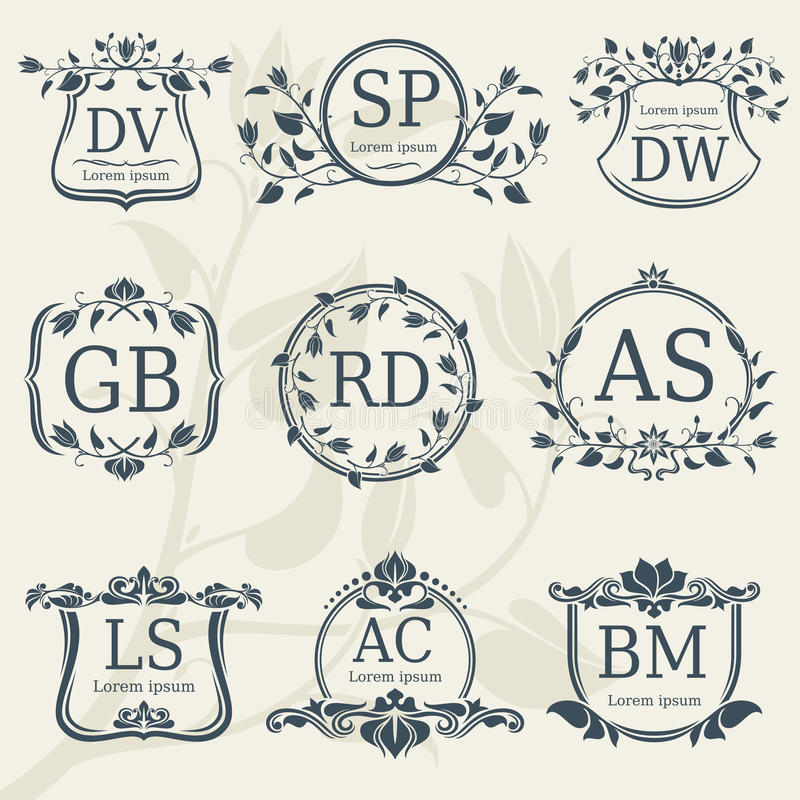 Vintage elegance wedding monograms with floral frames. Vector stock vector illustration