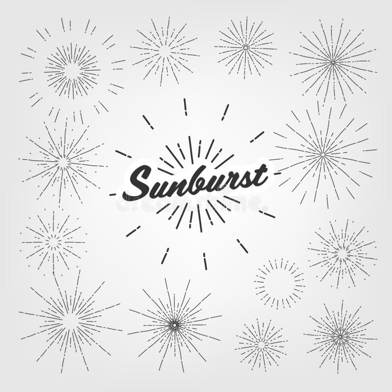 Vintage Element Sunburst Set Vector. Circle Sun. Graphic Frame. Hand Drawn Shape. Ray Stamp. Old Emblem Text. Banner vector illustration