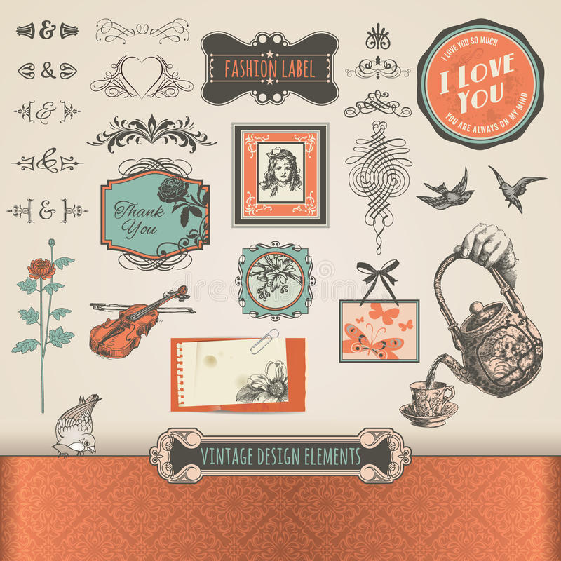 Vintage elements and labels royalty free stock photo