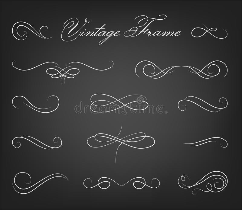 Vintage elements and page decoration. Ornate frames and scroll e stock illustration