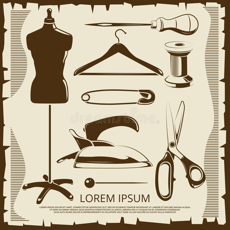 Vintage elements for tailor labels - scissors, dummy, thread, pins royalty free illustration