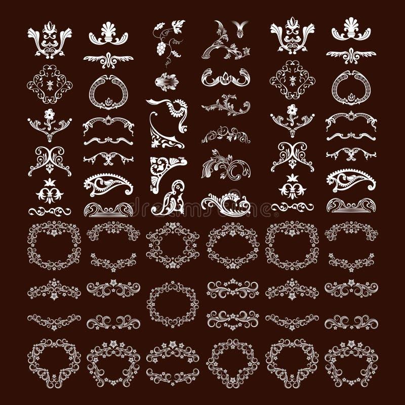 Set of vintage flourish ornament collection vector illustration