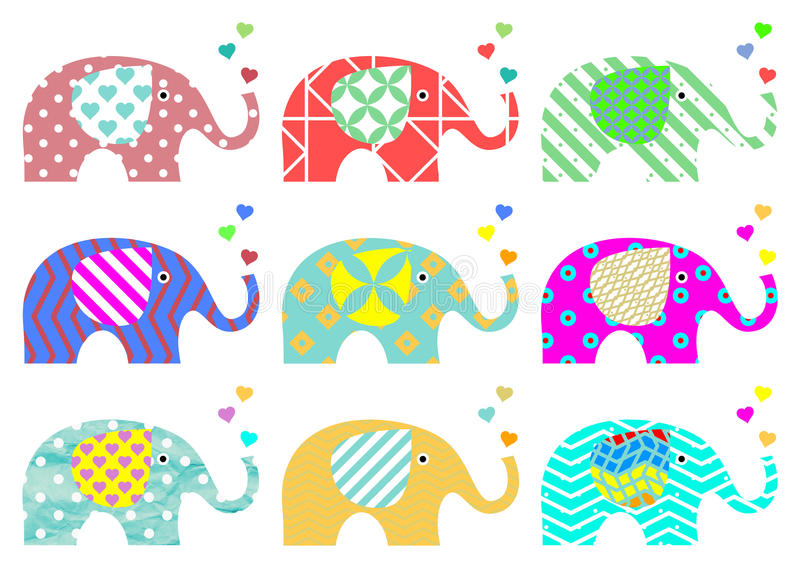 Download Vintage Elephants. Retro Pattern. Textures And Geometric Shapes.  PNG Available Stock Image