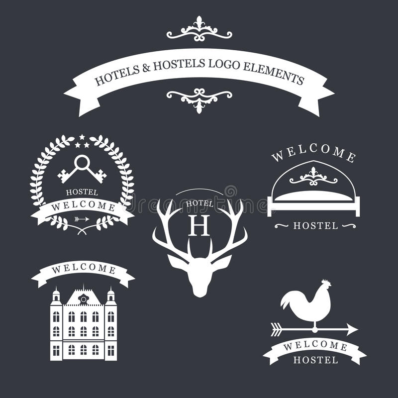 Vintage emblem with deer, kyes, weather vane, bed and old building for your hotel and hostel logo. Vintage logo with deer, kyes, weather vane, bed and old vector illustration