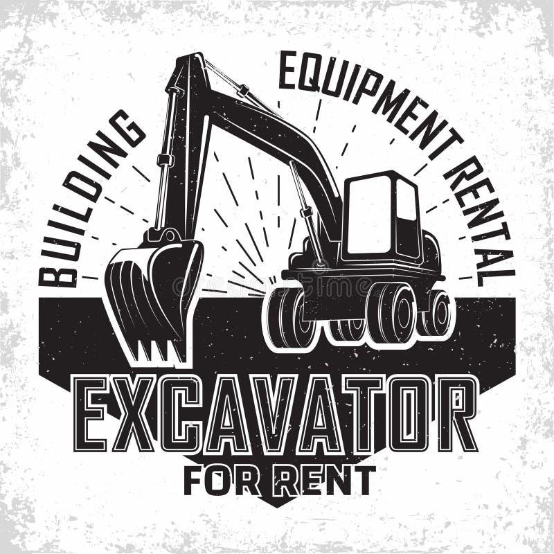 Vintage emblem design. Excavation work logo design, emblem of excavator or building machine rental organisation print stamps, constructing equipment, Heavy royalty free illustration