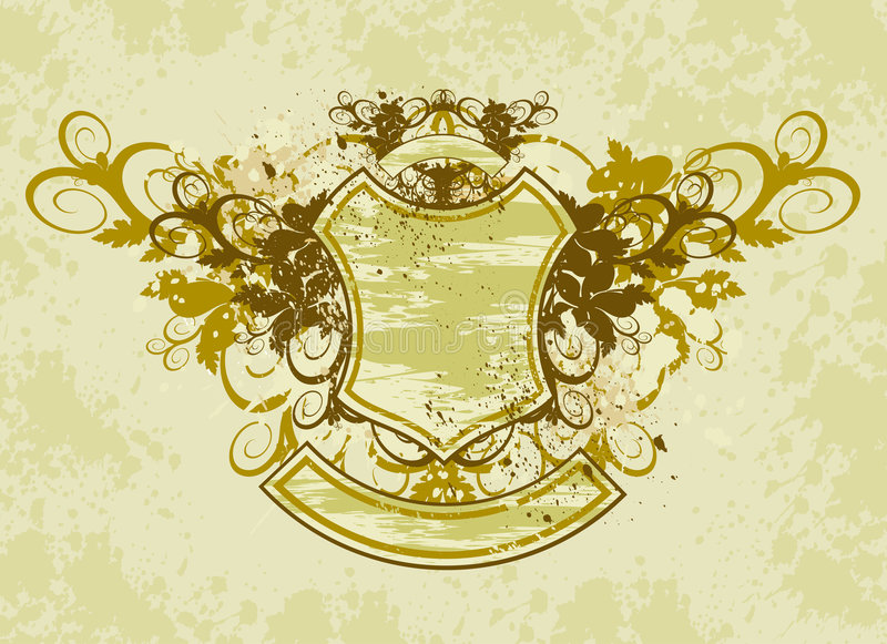 Download Vintage Emblem - Flowers Ornament On Grunge Background Stock Vector - Illustration of flourishes, background: 2098152