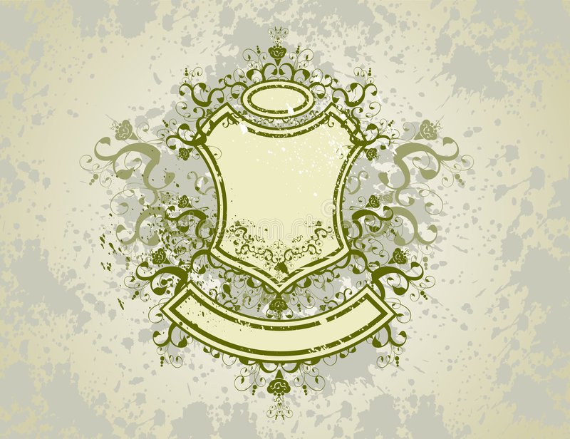 Download Vintage Emblem - Flowers Ornament On Grunge Background Stock Images - Image: 2098154