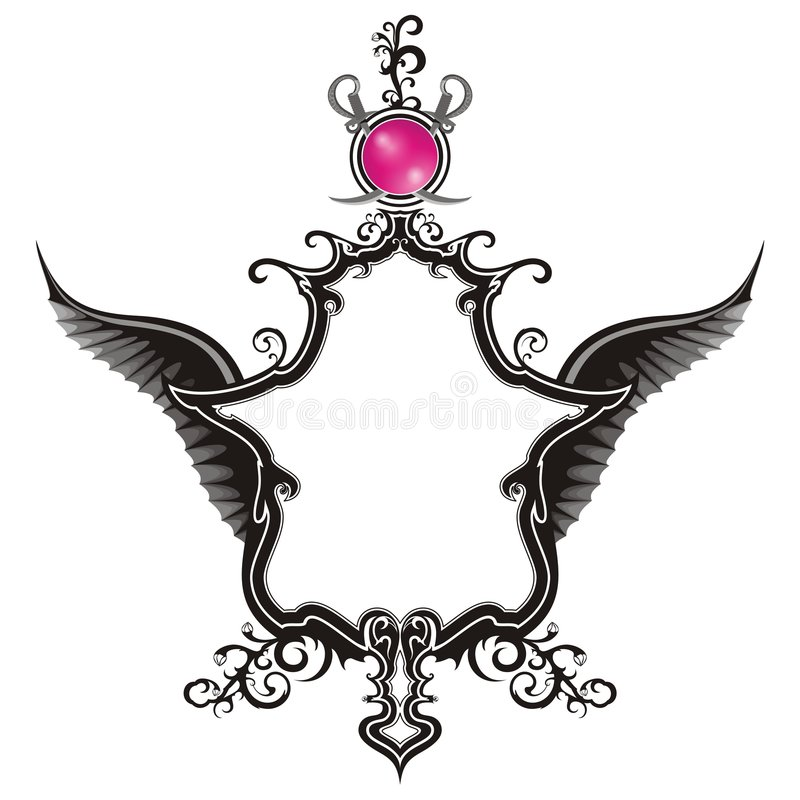 Vintage Emblem with wings stock images