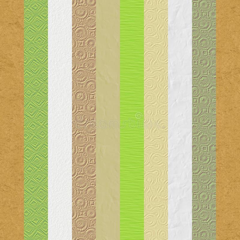 Vintage embossed paper textures stripes collage royalty free illustration