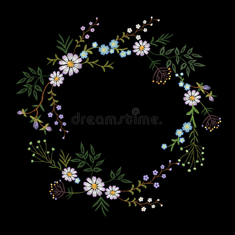 Vintage embroidered flower wreath. Fashion elegant delicate design decoration print. stock illustration