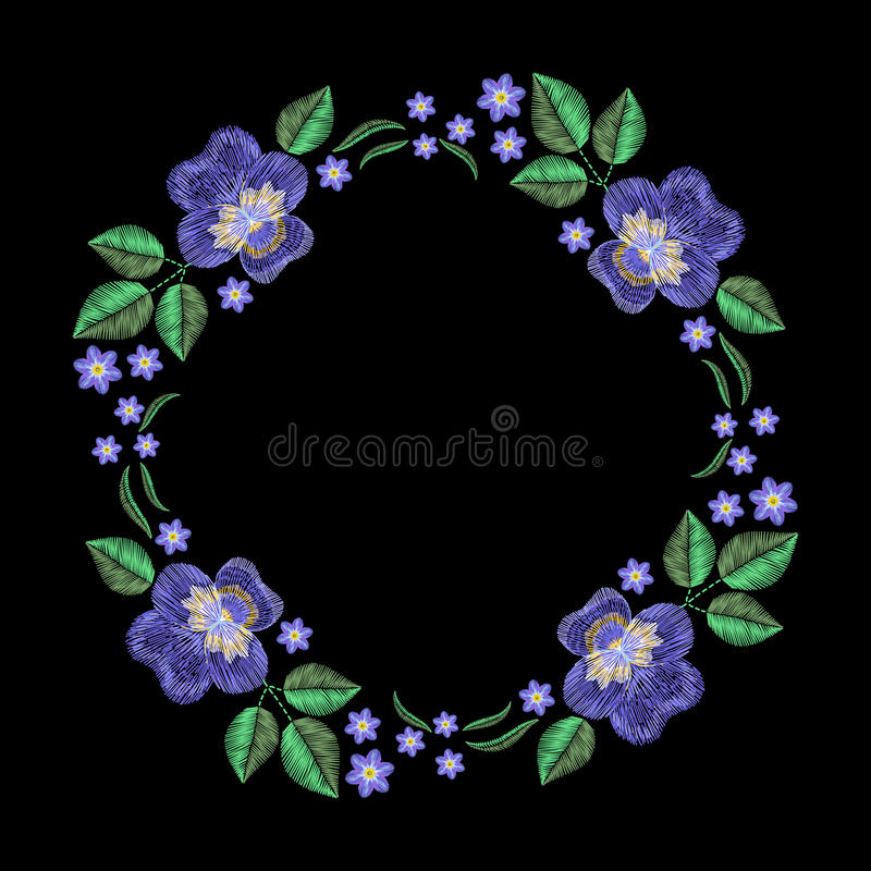Vintage embroidery wreath with violet, forget me not. Vector fashion ornament on black background for textile, fabric traditional. Folk decoration royalty free illustration