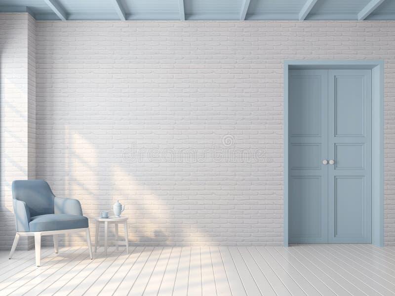 Vintage empty room with blue pastel color 3d render stock illustration