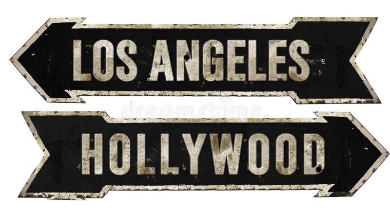 Vintage en métal grunge de flèche de plaque de rue de Los Angeles Hollywood rétro photographie stock libre de droits
