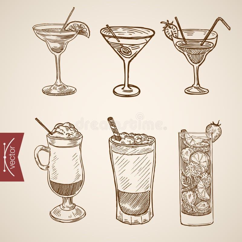 Vintage en retard de vecteur de gravure de cocktail de crème de cappuccino de café illustration stock