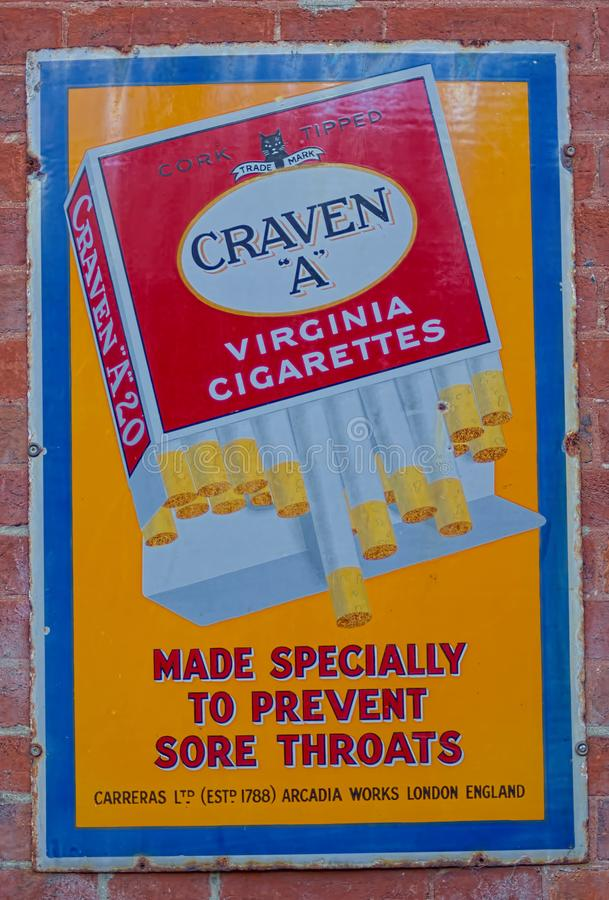 Free Vintage Enamel Advertising. Craven A Cigarettes. Stock Photo - 144706860