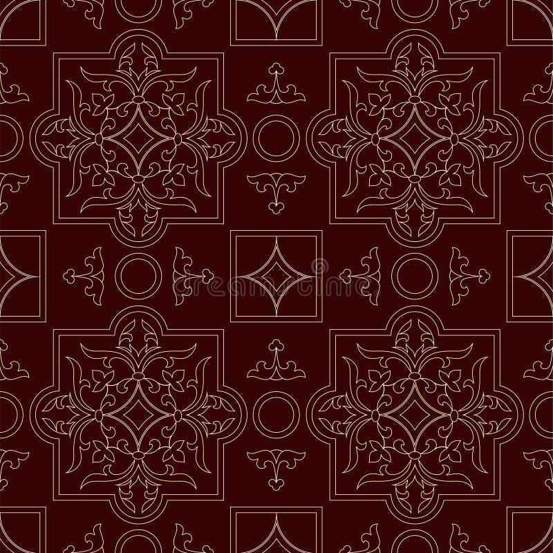 Vintage endless pattern burgundy background vector illustration