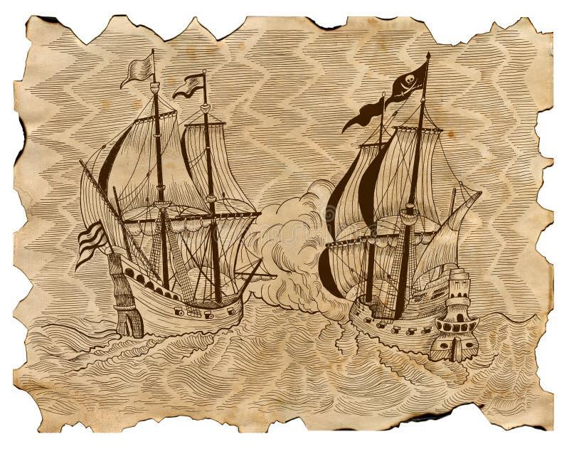 Vintage engraved illustration of pirate ships in sea battle on old parchment stock illustration