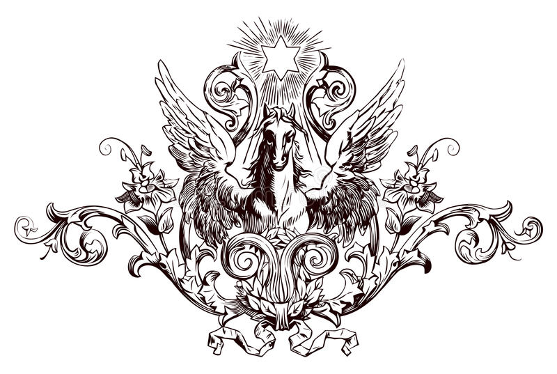 Download Vintage engraving stock vector. Image of horse, decoration - 13099401