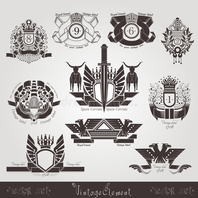 Vintage engraving banners or labels with plant eagle bull and pattern. Vintage engraving banners or labels with plant eagle bull and ribbons vector illustration