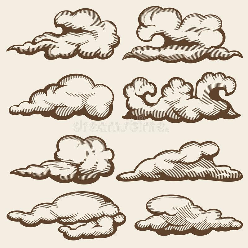 Vintage engraving clouds. Hand drawn vector set. Cloud engraving drawing in sky retro style illustration vector illustration