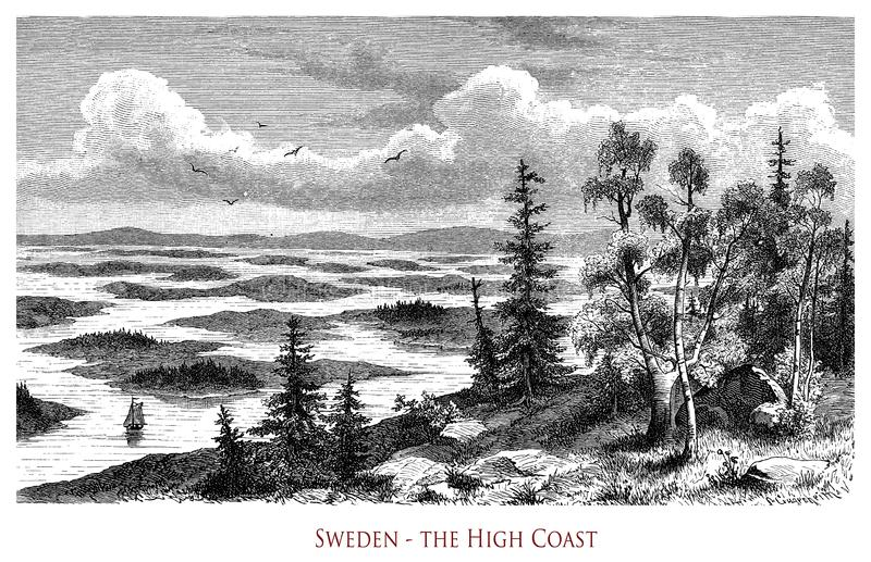 Vintage geographical image, Sweden High Coast royalty free stock images