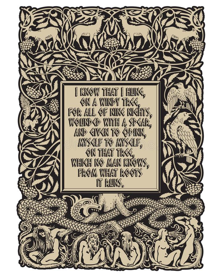Vintage Engraving. The Tree Of Life In Norse Mythology, Animals And ...
