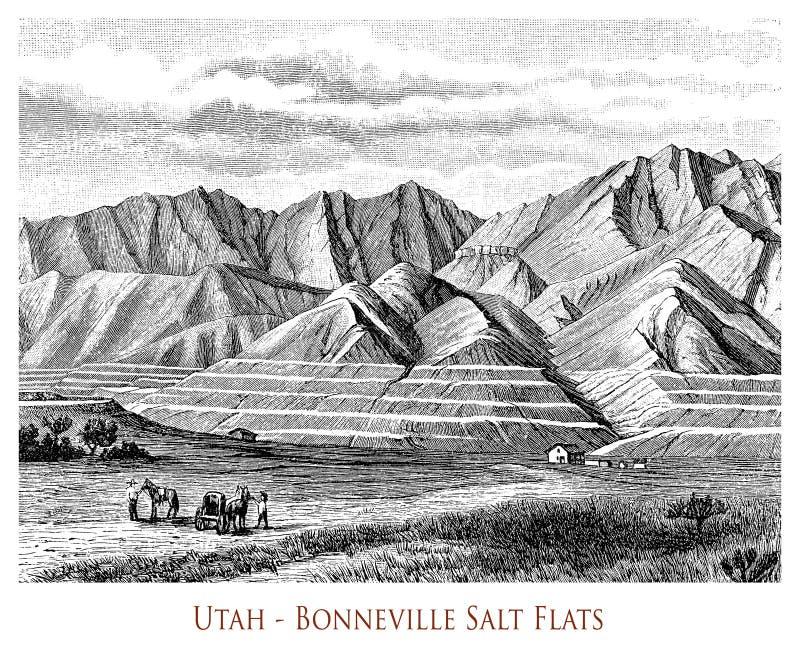 Vintage geographical image, Bonneville Salt Flats stock photo