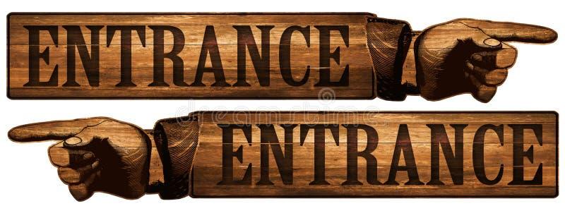 Vintage Entrance Sign Pointing Finger stock illustration