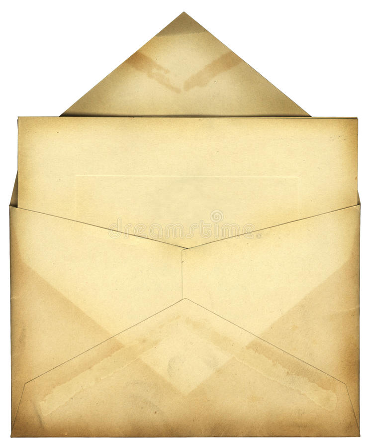 Vintage Envelope. This is a very old stained envelope with a card inside royalty free stock images