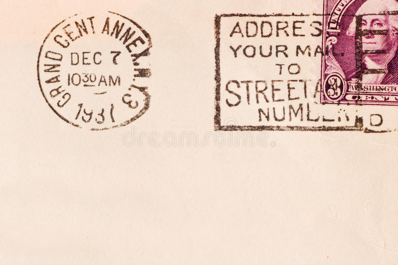 Vintage envelope. Vintage yellowed envelope with postmark stamp royalty free stock photography